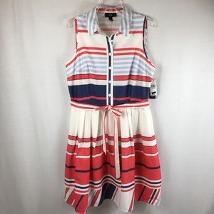 AGB Nautical Striped Summer Fit Flare Dress Sz 16